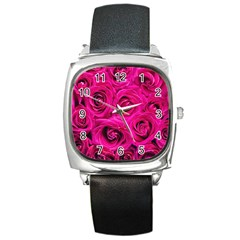Pink Roses Roses Background Square Metal Watch