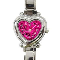 Pink Roses Roses Background Heart Italian Charm Watch by Nexatart