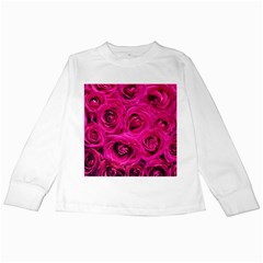 Pink Roses Roses Background Kids Long Sleeve T Shirts