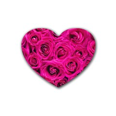 Pink Roses Roses Background Heart Coaster (4 Pack)