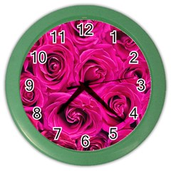 Pink Roses Roses Background Color Wall Clocks by Nexatart