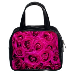 Pink Roses Roses Background Classic Handbags (2 Sides) by Nexatart