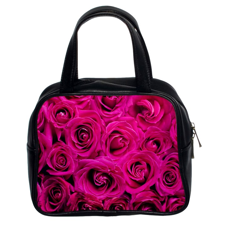 Pink Roses Roses Background Classic Handbags (2 Sides)