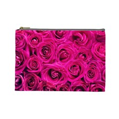 Pink Roses Roses Background Cosmetic Bag (large)