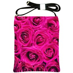 Pink Roses Roses Background Shoulder Sling Bags by Nexatart
