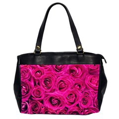 Pink Roses Roses Background Office Handbags (2 Sides)  by Nexatart