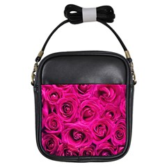 Pink Roses Roses Background Girls Sling Bags by Nexatart