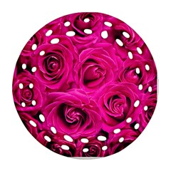 Pink Roses Roses Background Round Filigree Ornament (two Sides) by Nexatart