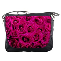 Pink Roses Roses Background Messenger Bags