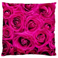 Pink Roses Roses Background Large Flano Cushion Case (two Sides) by Nexatart