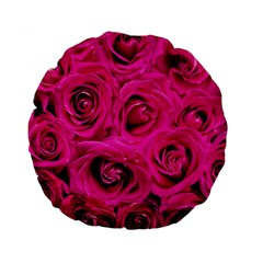 Pink Roses Roses Background Standard 15  Premium Flano Round Cushions by Nexatart