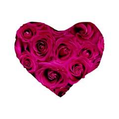 Pink Roses Roses Background Standard 16  Premium Flano Heart Shape Cushions by Nexatart