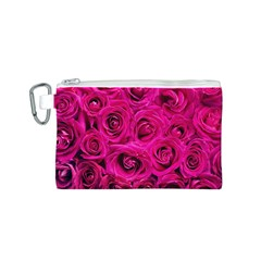 Pink Roses Roses Background Canvas Cosmetic Bag (s) by Nexatart