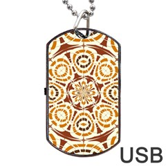 Brown And Tan Abstract Dog Tag Usb Flash (two Sides) by linceazul