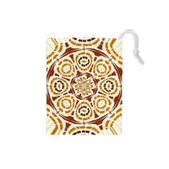 Brown And Tan Abstract Drawstring Pouches (small)  by linceazul