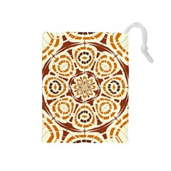 Brown And Tan Abstract Drawstring Pouches (medium)  by linceazul
