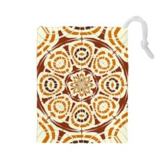 Brown And Tan Abstract Drawstring Pouches (large)  by linceazul