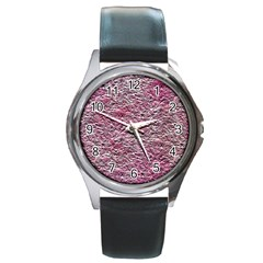 Leaves Pink Background Texture Round Metal Watch by Nexatart