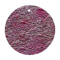 Leaves Pink Background Texture Ornament (round)