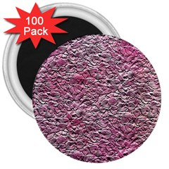 Leaves Pink Background Texture 3  Magnets (100 Pack)