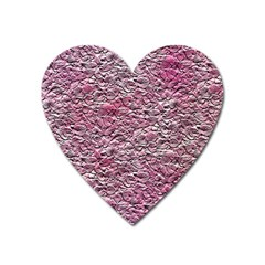 Leaves Pink Background Texture Heart Magnet by Nexatart