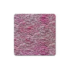 Leaves Pink Background Texture Square Magnet