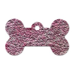 Leaves Pink Background Texture Dog Tag Bone (two Sides) by Nexatart