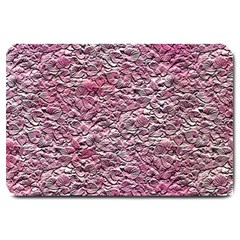 Leaves Pink Background Texture Large Doormat  by Nexatart