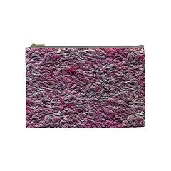 Leaves Pink Background Texture Cosmetic Bag (medium)