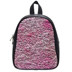 Leaves Pink Background Texture School Bags (small)