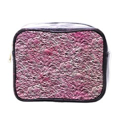 Leaves Pink Background Texture Mini Toiletries Bags