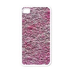 Leaves Pink Background Texture Apple Iphone 4 Case (white)