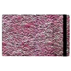 Leaves Pink Background Texture Apple Ipad 2 Flip Case by Nexatart