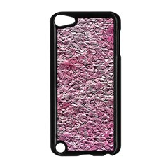 Leaves Pink Background Texture Apple Ipod Touch 5 Case (black) by Nexatart