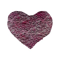 Leaves Pink Background Texture Standard 16  Premium Flano Heart Shape Cushions by Nexatart