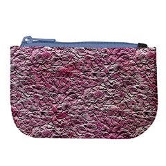 Leaves Pink Background Texture Large Coin Purse by Nexatart