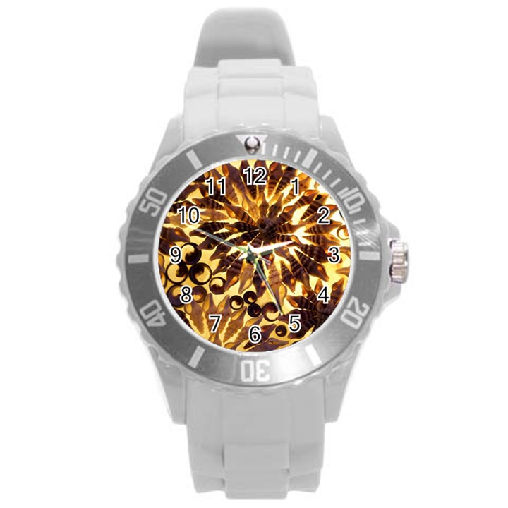 Mussels Lamp Star Pattern Round Plastic Sport Watch (L)