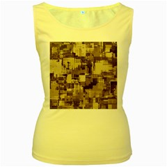 Color Abstract Background Textures Women s Yellow Tank Top
