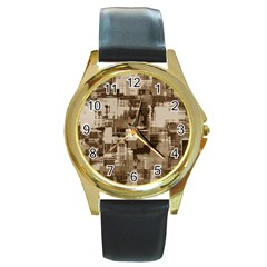 Color Abstract Background Textures Round Gold Metal Watch by Nexatart