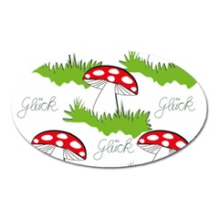 Mushroom Luck Fly Agaric Lucky Guy Oval Magnet by Nexatart
