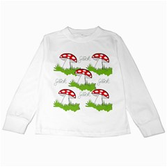 Mushroom Luck Fly Agaric Lucky Guy Kids Long Sleeve T Shirts by Nexatart