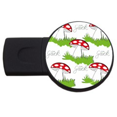 Mushroom Luck Fly Agaric Lucky Guy Usb Flash Drive Round (4 Gb)