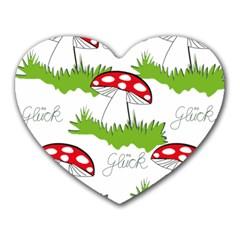 Mushroom Luck Fly Agaric Lucky Guy Heart Mousepads by Nexatart