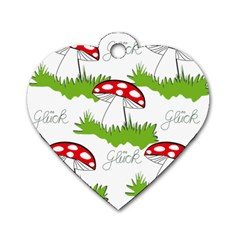 Mushroom Luck Fly Agaric Lucky Guy Dog Tag Heart (two Sides) by Nexatart
