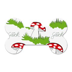 Mushroom Luck Fly Agaric Lucky Guy Dog Tag Bone (two Sides) by Nexatart