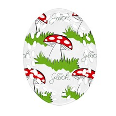 Mushroom Luck Fly Agaric Lucky Guy Oval Filigree Ornament (two Sides)
