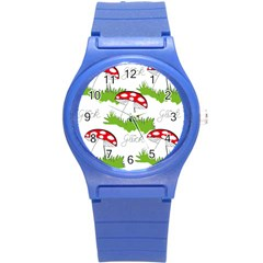 Mushroom Luck Fly Agaric Lucky Guy Round Plastic Sport Watch (s)