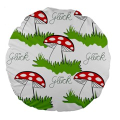 Mushroom Luck Fly Agaric Lucky Guy Large 18  Premium Flano Round Cushions by Nexatart