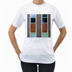 Pattern Symmetry Line Windows Women s T Shirt (white) (two Sided) by Nexatart