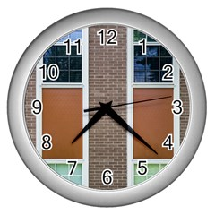 Pattern Symmetry Line Windows Wall Clocks (silver)